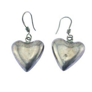 Vintage Taxco Heavy Sterling Silver Heart Earrings